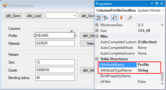 Tekla structures open api bound values of controls to attributes