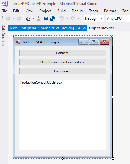 Tekla EPM code example: production control jobs