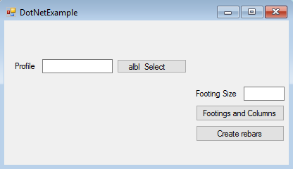 Tekla structures open API Application form user select profile for columns