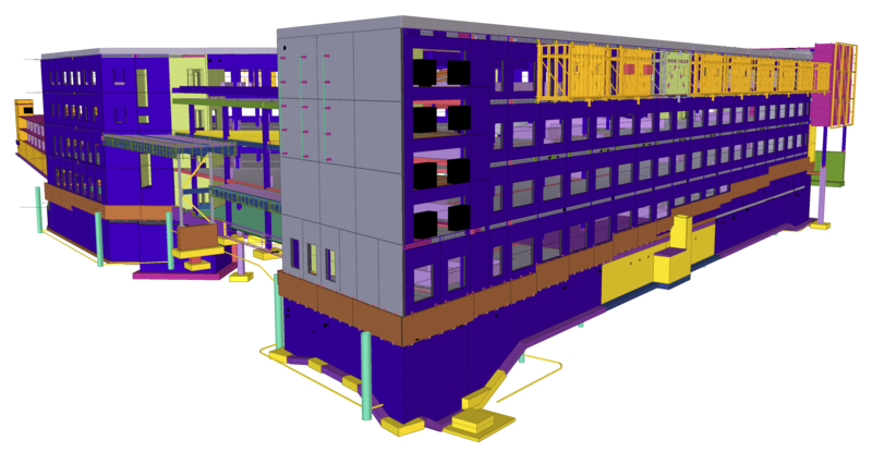 Tekla Open API model code examples - model of Health care center JUST