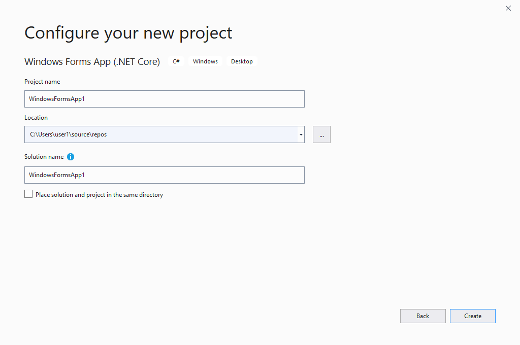 Create a new project in Microsoft Visual Studio an configure your new project.