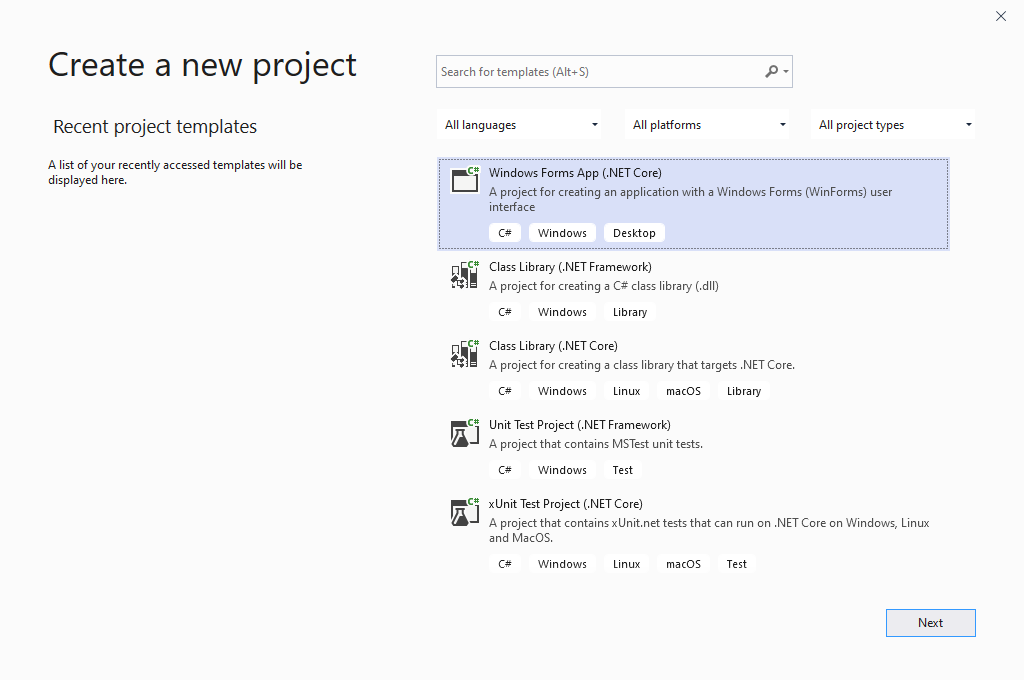Create a new project in Microsoft Visual Studio for a Forms application.