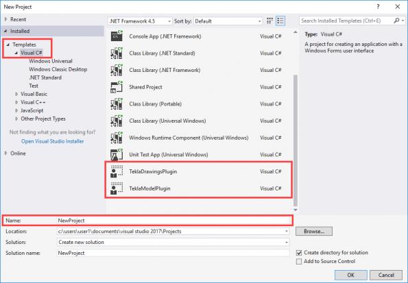 Create a new project in Microsoft Visual Studio | Tekla Developer Center