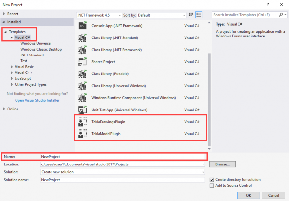 Create a new project in Microsoft Visual Studio | Tekla
