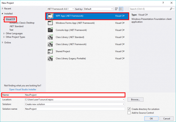 Create new project in Microsoft Visual Studio for WPF App