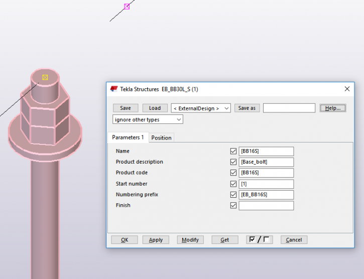 Tekla Structures embed creation in practice - item is as custom part in the model